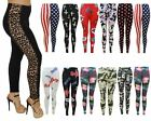 New Ladies Womens Printed Skinny Full Length Stretchy Trouser Leggings Size 8-14