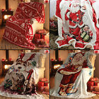 FATHER CHRISTMAS REINDEER FLEECE SOFA BED THROW COVER CHAIR BEDSPREAD BLANKET