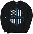 Blue Lives Matter Thin Blue Line Shield Police Officer Support Sweatshirt