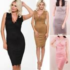 New Womens Ladies Bodycon Suede Midi Dress Plunge Sleeveless Scalloped Top Size