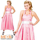 50s Pink Bopper Dress Ladies 1950s Fancy Dress Adults Fifties Womens Costume New