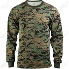 MENS LONG SLEVE WOODLAND DIGITAL CAMO MARINE T -SHIRT  Military Tactical  S -4X