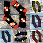 6 Pack of Mens Colorful Funky Patterned Odour Control Crew Bamboo Socks 7-12 US