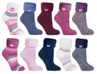 Heat Holders - Womens Thick Warm Thermal Non Skid Lounge Bed Socks With Grippers
