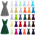 Stock Halter Short Chiffon Prom Bridesmaid Party Evening Dresses Bridal Size6-26