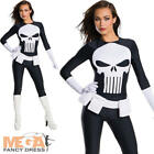 Punisher Marvel Ladies Superhero Fancy Dress Adults Womens Halloween Costume New
