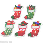 30PCs Christmas Socks Shaped 2-Hole Wooden Buttons Sewing DIY Scrapbooking