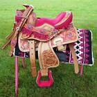"10"" 12"" Med Oil PINK Filigree & Fringe Western PONY MINI TRAIL Saddle SHOW HSBP"