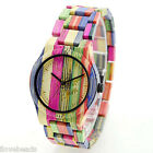 New Fashion Women Men Wood Watch Cool Colored Bamboo Quartz  Analog Wristwatch