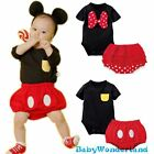 New Boys Girls Mickey Mouse Minnie Costume 2 Pieces Romper Top + Pants Size 0-2