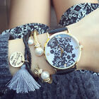 Lace Print Watch Women's metal Leather Band Wrist Watches White/Black