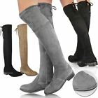 Womens Ladies Thigh High Over The Knee Low Block Heel Lace Up Slouch Boots Size