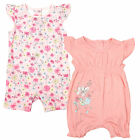 Girls Chainstore Pack of 2 Floral Frill Playsuit Romper Tiny Baby to 18 Months