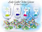Golf Wine Glass Dress Lady Hand Painted Ladies Whimsical Game Gift Fun Womens