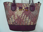 Ladies/Womens Designer Purple Faux Leather Bow Fashion Crossbody Grab Handbag.