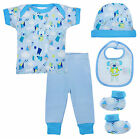 Baby BLUE 5 Piece Top Bottoms Hat Bootees Bib Gift Box Set Newborn to 6 Months