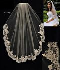 Alencon Lace Edge Fingertip Length Bridal Veil White Ivor...
