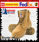 New Steel Blue Mens Work Boots Argyle Zip Steel Toe Wheat 312152 AU Size