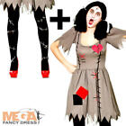 Voodoo Doll + Tights Ladies Fancy Dress Dolly Halloween Adults Womens Costume