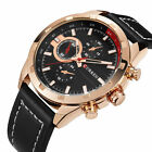 CURREN Fashion Mens Leather Male Analog Casual Military Quartz Sport Wrist Watch