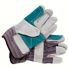 96 Pairs Natural Cow Split Leather Striped Cotton Rubberized Working Glove