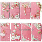 Magnetic Bling Crystal Diamonds PU leather flip wallet  case cover for Samsung#3