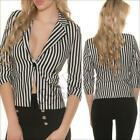 NEW sexy ladies fashion BLAZERS for women JACKETS girls TOP striped 3/4 sleeve