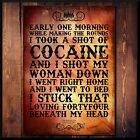 Johnny Cash Cocaine Blues Folk Rock Music Song Lyrics Quote Poster Print Art