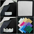 Mens Silver Pocket Square Faux Silk Handkerchief,Hankie,/Kerchief-Wedding/Party