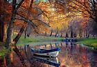 Boat on Autumn Lake Forest Trees Autumn Fall Colours Canvas Picture Wall Art
