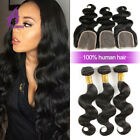 Brazilian Hair Bundles with Closure Human Hair Extensions Weave Weft US STOCK