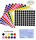 "Color Coding Labels 1/2"" 17 colors available half inch dots sheet 13mm 1200 pack"