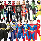Deluxe Superhero Boys Fancy Dress Muscle Chest Comic Book Kids Childrens Costume