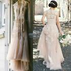 Vintage Blush Tulle Appliques Wedding Dresses 2016 Cap Sleeve Lace Bridal Gowns