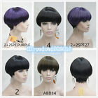 Women Purple/Black short Hair Full Wig Mushroom head Bob Wig
