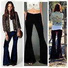 Olivaceous VELVET BELL BOTTOMS Boho Gypsy Super Flare Cut to Fit Burg Navy S-L