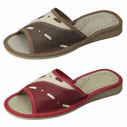 New Womens Leather Slippers Flip Flops Sandals Shoes Mules, Size 3 - 8, BW41