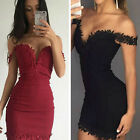 Sexy Lace bandage evening Party off-shoulder Bodycon short dress Deep V Women FM