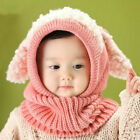 Baby Toddler Girls Boys Winter Warm Hat Hooded Scarf Dog Knitted Beanie Cap