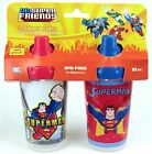 DC Superfriends Superman Set Of (2) 10oz Sippy Cups Spill Proof BNIP HardToFind