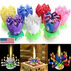 lotus flower pink - 1x Amazing Blossom Musical Lotus Flower Candle Birthday Party w/14 Small Candles