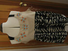NEXT ZEBRA STRIPE BEADED TRIBAL STYLE TOP 14 20 BNWT BEIGE BLACK COTTON STRAPPY