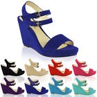 LADIES WOMENS WEDGES LOW MID HIGH HEEL FLAT SUMMER STRAPPY PEEP TOE SANDALS SIZE