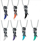 Stainless Steel Wolf Tribal Men's Women's Unisex Crystal Pendant Necklace Tooth