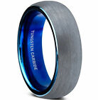 Blue Domed Tungsten Carbide Wedding Band Ring Brushed Polish Finished Comfort Fi