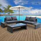 4 PC Outdoor Cushioned Patio Garden Furniture Set Wicker Rattan Sofa Table Set