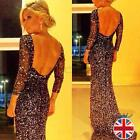 UK Women Long Formal Prom Dress Cocktail Black Party Ball Gown Evening Dress