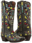 """Womens Black Distressed Leather Studded Cowboy Western Boots Skull Rocker Punk"""