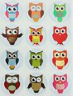 Colorful Owl Metallic Stickers 37mm Permanent Adhesive For Toys Crafts Games
