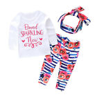 Newborn Baby Kids Girls T-shirt+Floral Pants+Headband 3PCS Outfits Clothes Set